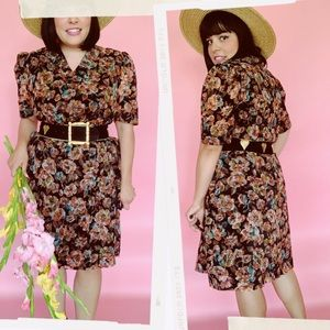 Vtg Velvet Textured Fall Floral Shift Dress S M
